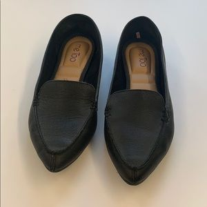 Me Too Black leather work pointed flats